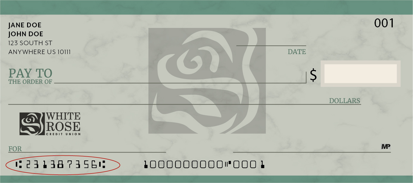 where is the routing number located on a check? | white rose cu